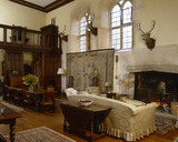 View towards the screens in the Great Hall at Great Chalfield Manor, near Melksham, Wiltshire