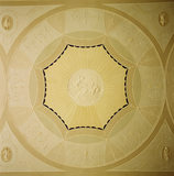"View of the plaster roundel in the drawing room ceiling at Ardress House depicting ""Aurora in the Chariot of Dawn"""