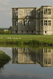 The Water Garden with the building beyond at Lyveden New Bield, Peterborough, Northamptonshire
