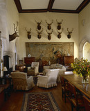 View towards the stags heads above one of the seventeenth-century Antwerp tapestries in the Great Hall at Great Chalfield Manor, near Melksham, Wiltshire