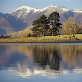 Skiddaw, snow-capped, view from eastern shore of Derwentwater, beside Kettlewell car park (NT)