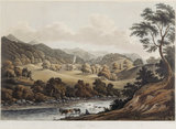 VIEW OF HAFOD, an aquatint from a watercolour by John 'Warwick' Smith, 1792 on the East Staircase at Croft Castle