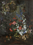 STILL LIFE WITH FLOWERS AND PEACOCK by Jean Baptiste Monnoyer, late seventeenth century, oil on canvas