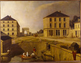THE COTTON MILL, HOUSE AND WHARF OF RICHARD LENOIR by Charles Thevenin (1764-1838)