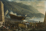 THE LAUNCHING OF A BATLLESHIP a gouache drawing by Abraham-Louis-Rudolphe Ducros (1748-1810)