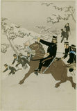 CAVALRY IN WINTER an original print in the style of YOSHI TOSHI from the Japanese Room