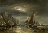 MOONLIGHT COASTAL SCENE dated 1840 by John Wilson Carmichael (1800-1866)