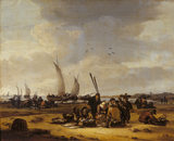 FISHERMEN ON A BEACH by Egbert van de Poel (1621-1664) from the Cabinet at Felbrigg Hall