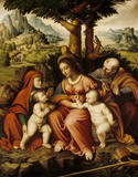 THE HOLY FAMILY WITH ST ELIZABETH & ST JOHN by Cesare Magni (1495-1534)