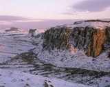 Peel Crag and Crag Lough at Hadrian's Wall, Northumberland, in the snow