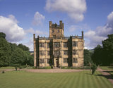A view of the South Front of Gawthorpe Hall on a bright summers day at Lancashire