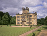 A view of the South Front of Gawthorpe Hall on a cloudy day
