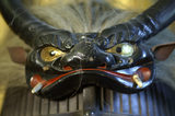 Close view of part of a Japanese Samurai armour, part of a remarkable C17th to C19th collection of twenty six suits of armour, in the Green Room at Snowshill Manor