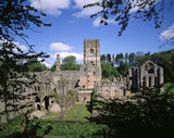 Fountains Abbey viewed from the south, the ruins are from a monastery founded in 1132 by Cistercian monks