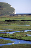View of meandering waterways in the flat grassy plain on Chyngton Farm, on the west bank of the Cuckmere estuary, Seven Sisters