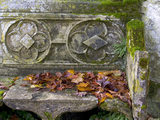 Close view of a stone bench outisde the Gothic Cottage at Stourhead, Wiltshire, in the autumn