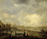 A TOWN ON A FROZEN RIVER by Aert van der Neer (1603/4-1677) from the Corridor at Polesden Lacey