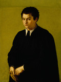 THE YOUTH of the Florentine school, the 16th century, at Ascott A young man in the black gown with the plain yellow green background