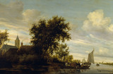 A RIVER SCENE WITH FERRYBOAT by Salomon van Ruysdael (1600/3-1670) from the Corridor at Polesden Lacey