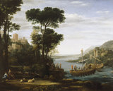 THE LANDING OF AENEAS AT PALANTEUM by Claude Lorrain completed in 1675
