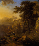 LANDSCAPE WITH HERDSMEN BY Nicholas Berchem (1620-1683)