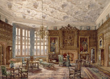 VIEW OF THE OAK DRAWING ROOM, by Brewer in the Oak Drawing Room at Powis Castle