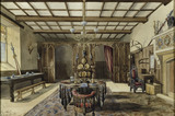 THE CROMWELL HALL, watercolour of the Hall, 1862, as remodelled by Pugin, in the Cromwell Hall at Chirk Castle