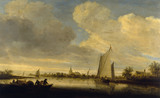 A RIVER ESTUARY by Salomon Van Ruysdael (1600/3-1670) in The Corridor at Polesden Lacey