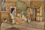 The Long Gallery - watercolour painting of THE PEBBLE COURT AT CANONS ASHBY by Clara Dryden (d. 1938)