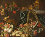 Flowers with Fruit, Book, Violin and Blue Drape