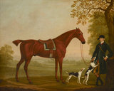 A Horse in Landscape with his Groom and Two Hounds
