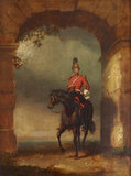 n Officer of the Dragoon Guards mounted on his Charger beneath an Arch