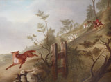 Hunting scene: a Fox followed by Hounds and Huntsmen in Full Cry