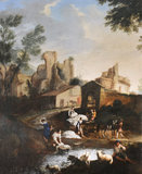 View of Buildings and Ruins with Washerwomen at a River