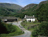 A long view of Yew Tree Farm, Coniston, Lake District, Cumbria with the farmer and a flock of Herdwick sheep in the yard