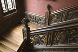 The Great Staircase at Ham House, Surrey with the balustrade carved with trophies of war
