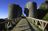 The stone bridge that leads to the SouthWest Gatehouse at Corfe Castle, Wareham, Dorset, UK