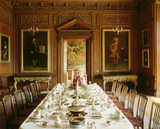 The Dining Room at Lyme Park, with the table set for dinner c