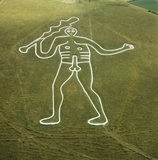 The Romano-British Cerne Giant, thought to be Hercules, carved in chalk in the hillside at Cerne Abbas in Dorset
