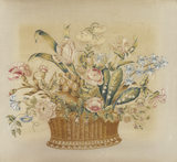 A basket of flowers from an eighteenth-century embroidery
