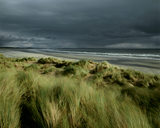 View of the stormy beach at Murlough National Nature Reserve, one of Ireland's first nature reserves, with the oldest sand dunes, a variety of plants and nesting sites