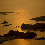 View of Ballintoy, Carrick-a-Rede, Northern Ireland at sunset, the sea is reflecting a golden glow and silhouetting the rocks
