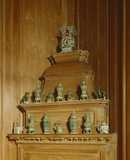 The chimney-piece in the south-west Closet is decorated in the traditional manner with early C18th 'famille verte' Chinese porcelain on loan from the Ashmolean Museum, Oxford