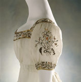 View of the sleeves & neckline of a muslin evening dress, c.1812-15