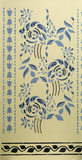 Detail of a stencil decoration in two shades of blue on a cream wall in the 1840's Ground Floor Living Room of the Birmingham Back to Backs