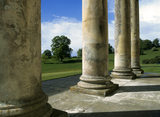 A view from the portico at Philipps House, looking across Dinton Park which surrounds the house