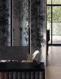 Part of the Living Room at The Homewood designed by Patrick Gwynne showing the multi-purpose desk and folding screen painted with images of bamboo by Peter Thompson an artist born in China