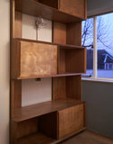Close view of the fitted wooden shelves in the office on the second floor of 2 Willow Road