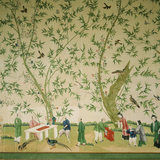 Chinese bedroom at Belton, detail of the C18th Chinese wallpaper frieze depicting a garden party