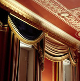 Detail of of the woollen & velvet curtains, in the Regency style, copied from the original set, probably designed by Gillows in 1812, which survived here until 1920